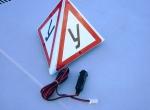 Автомобильный знак АЗУ-1м, трёхгранная пирамидка, магнитное крепление.